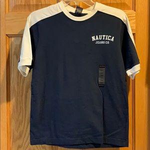 Nautica boys T-shirt size 12/14 navy and white
